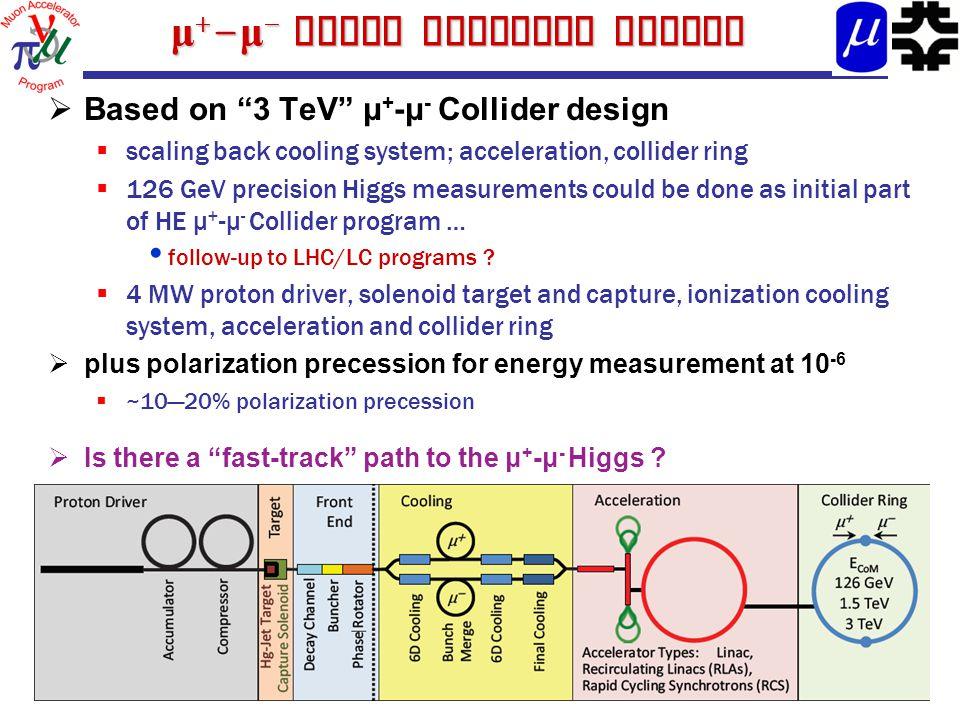 μ + - μ - Higgs Collider Design  Based on 3 TeV μ + -μ - Collider design  scaling back cooling system; acceleration, collider ring  126 GeV precision Higgs measurements could be done as initial part of HE μ + -μ - Collider program … follow-up to LHC/LC programs .