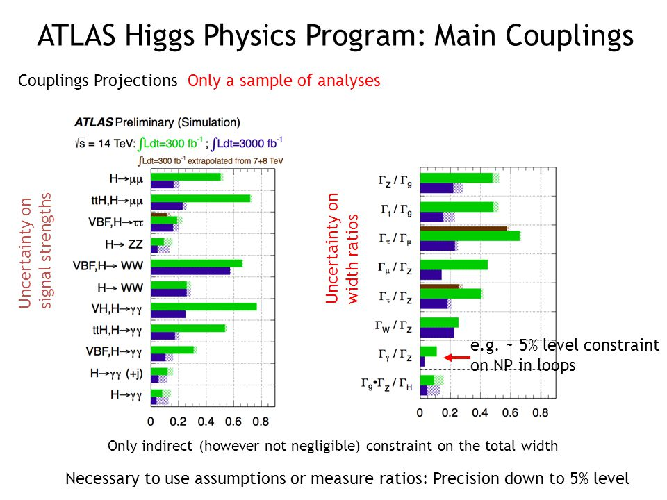 e.g. ~ 5% level constraint on NP in loops Couplings Projections Only a sample of analyses Uncertainty on signal strengths Uncertainty on width ratios
