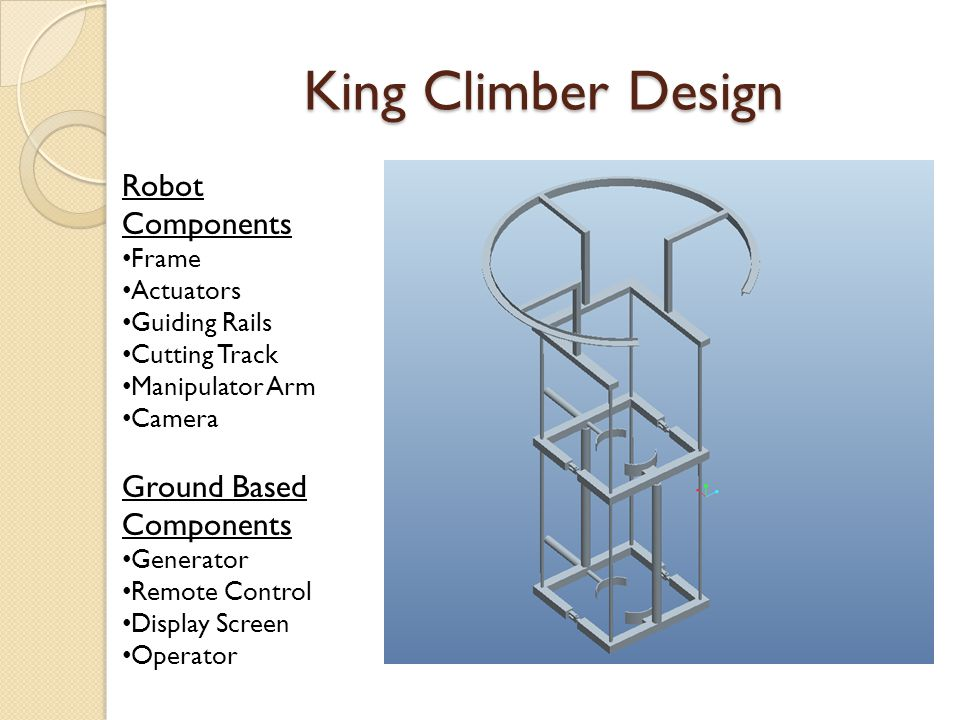 King Climber Design Robot Components Frame Actuators Guiding Rails Cutting Track Manipulator Arm Camera Ground Based Components Generator Remote Control Display Screen Operator