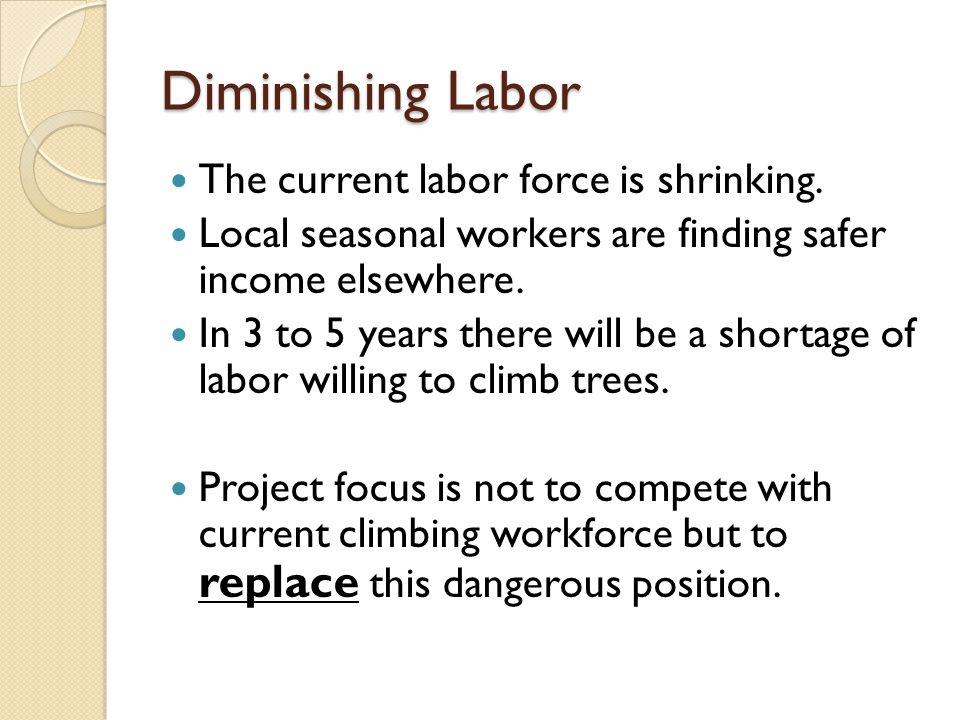 Diminishing Labor The current labor force is shrinking.