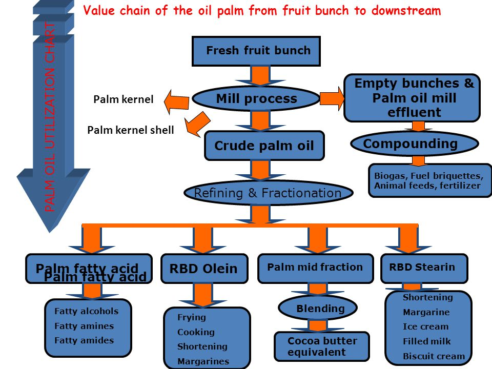 Fresh fruit bunch Mill process Crude palm oil Empty bunches & Palm oil mill effluent Compounding Refining & Fractionation Palm fatty acidRBD Olein Palm mid fractionRBD Stearin Shortening Margarine Ice cream Filled milk Biscuit cream Blending Cocoa butter equivalent Frying Cooking Shortening Margarines Fatty alcohols Fatty amines Fatty amides Biogas, Fuel briquettes, Animal feeds, fertilizer Palm fatty acid PALM OIL UTILIZATION CHART Value chain of the oil palm from fruit bunch to downstream Palm kernel Palm kernel shell