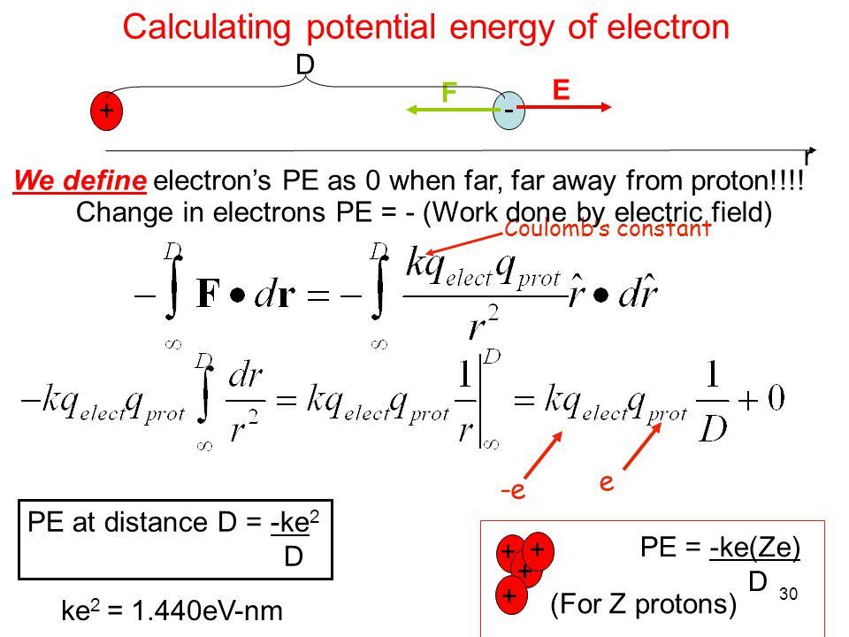 30 Calculating potential energy of electron + We define electron's PE as 0 when far, far away from proton!!!.