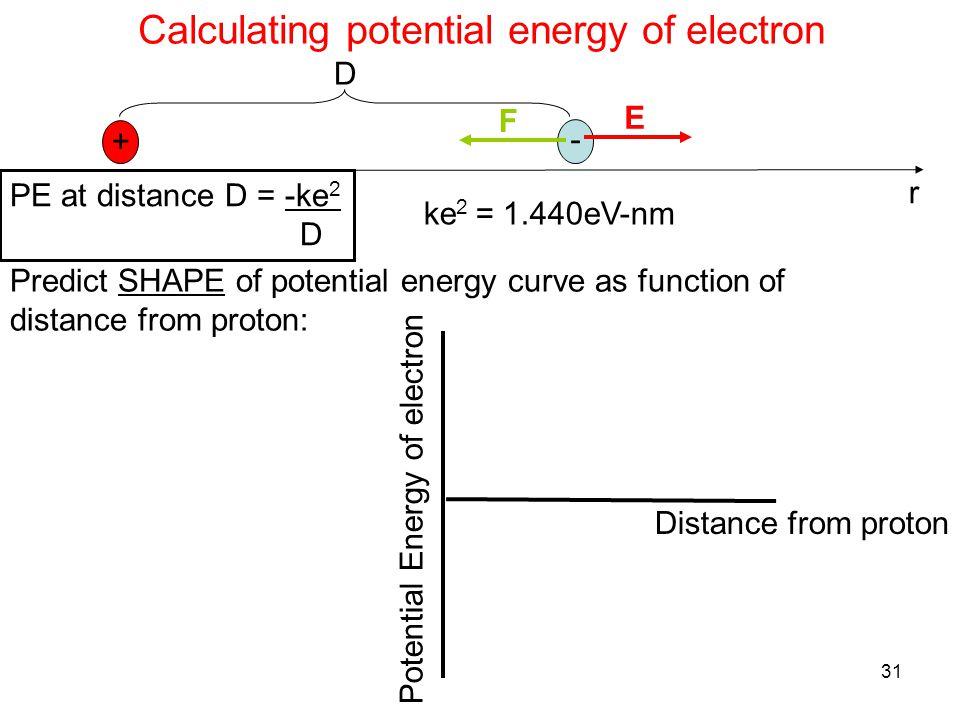 31 Calculating potential energy of electron + - E F r D PE at distance D = -ke 2 D ke 2 = 1.440eV-nm Predict SHAPE of potential energy curve as function of distance from proton: Distance from proton Potential Energy of electron