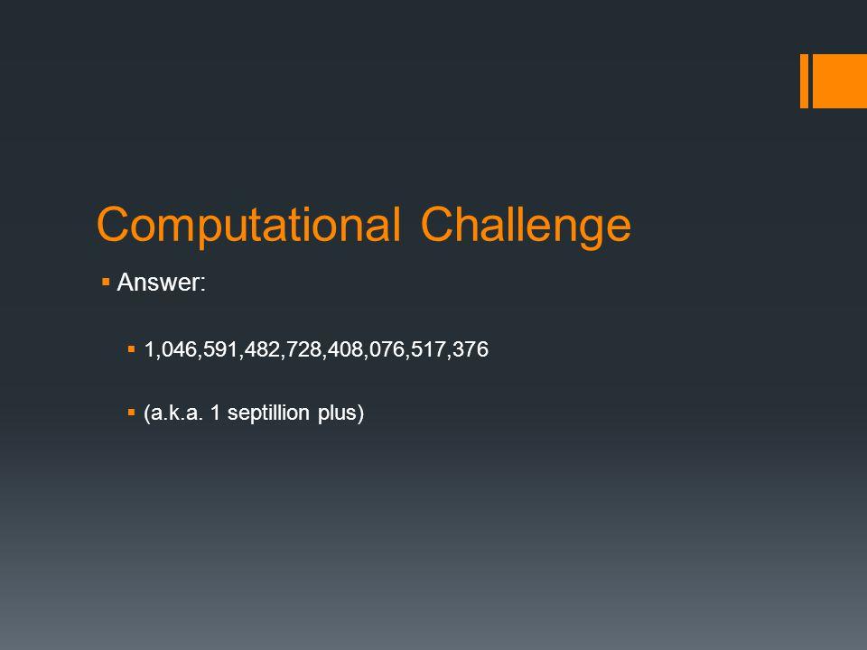 Computational Challenge  Answer:  1,046,591,482,728,408,076,517,376  (a.k.a. 1 septillion plus)