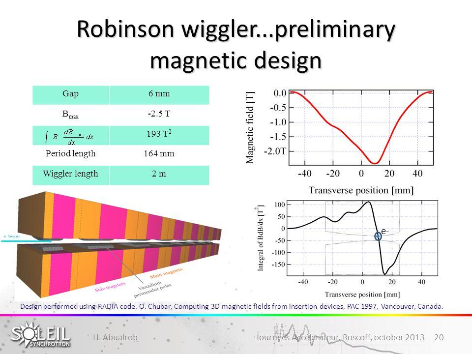 Robinson wiggler...preliminary magnetic design H. Abualrob Journées Accélérateur, Roscoff, october 201320 Gap6 mm B max -2.5 T 193 T 2 Period length16