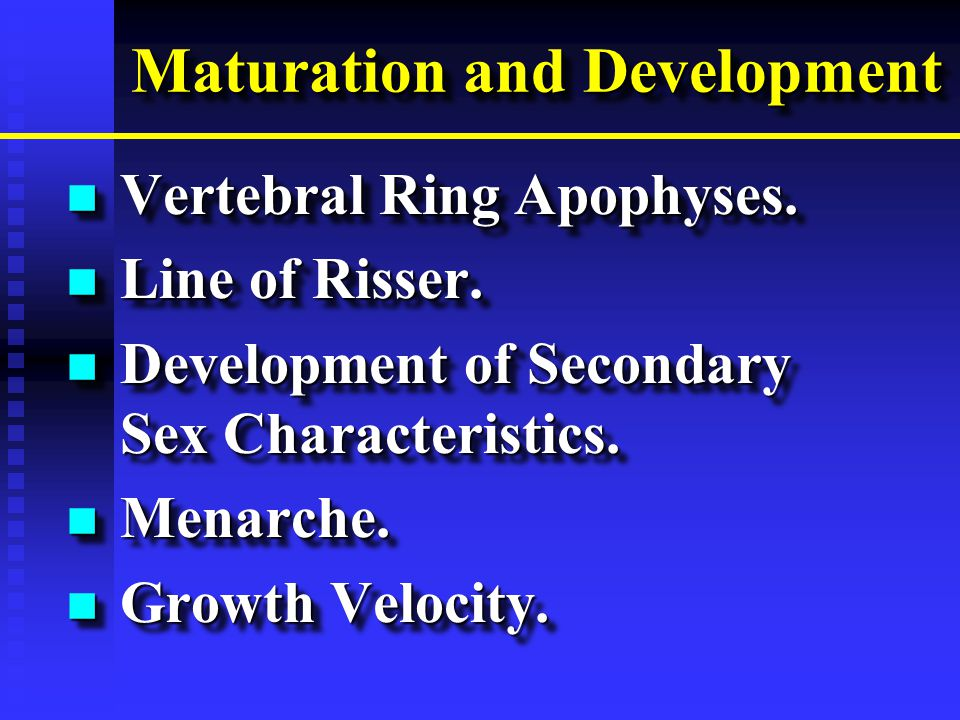 Maturation and Development n Vertebral Ring Apophyses.