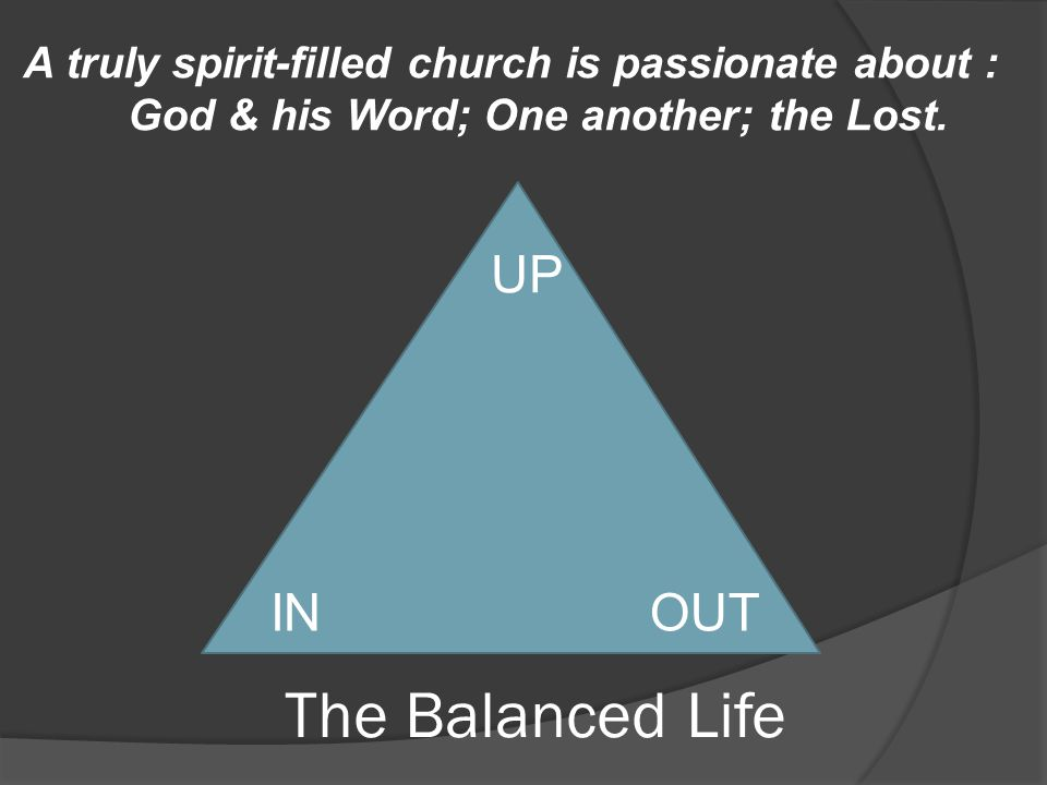 The Balanced Life UP INOUT A truly spirit-filled church is passionate about : God & his Word; One another; the Lost.