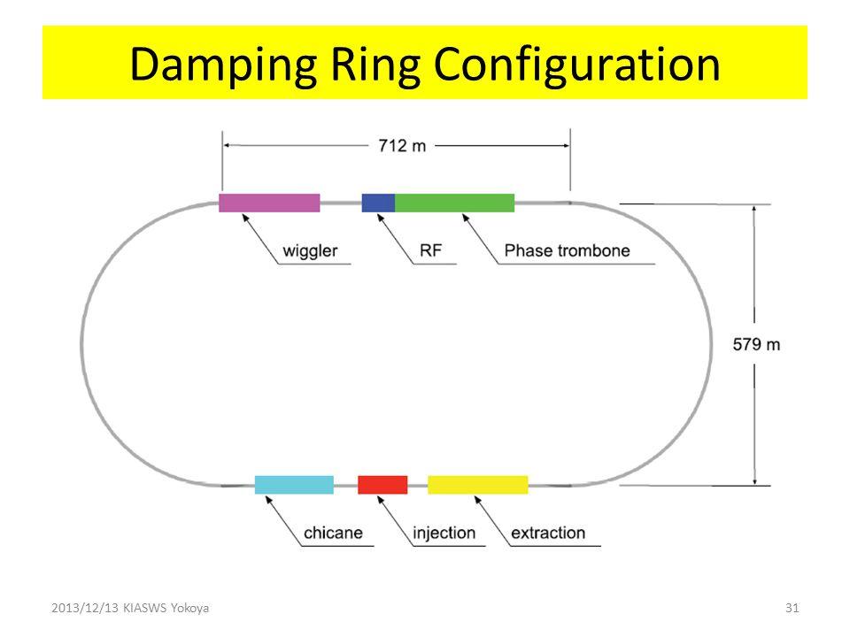 Damping Ring Configuration 2013/12/13 KIASWS Yokoya31