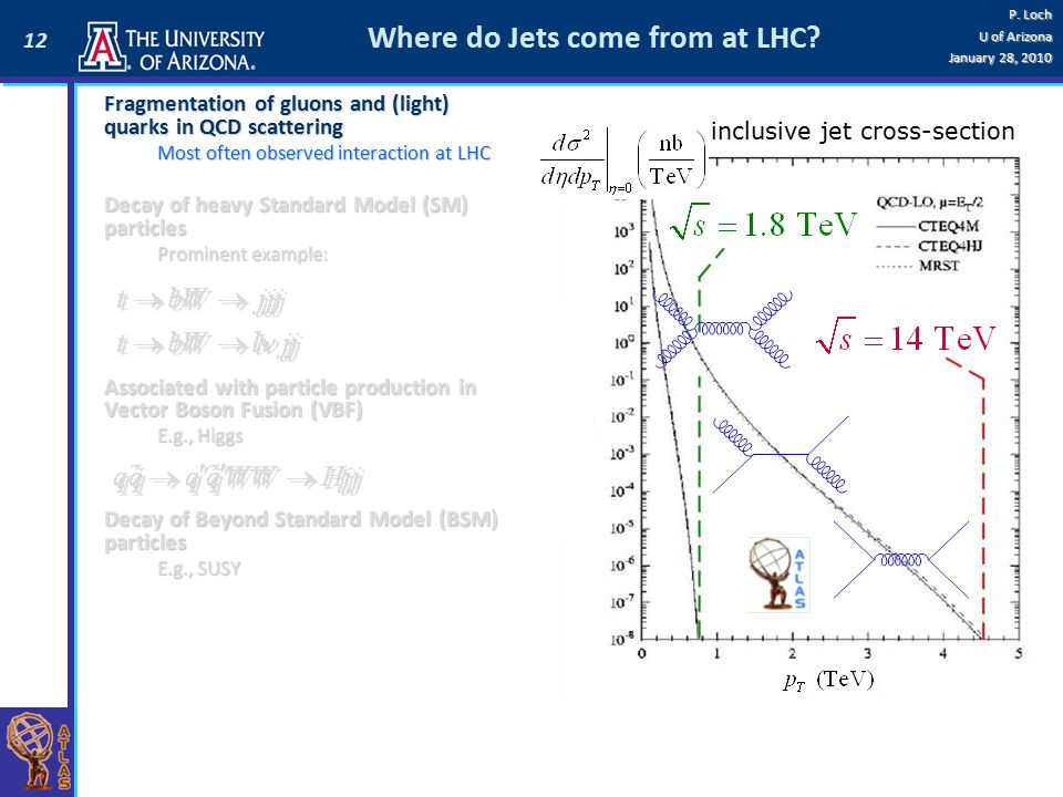 12 P. Loch U of Arizona January 28, 2010 Where do Jets come from at LHC? inclusive jet cross-section Fragmentation of gluons and (light) quarks in QCD