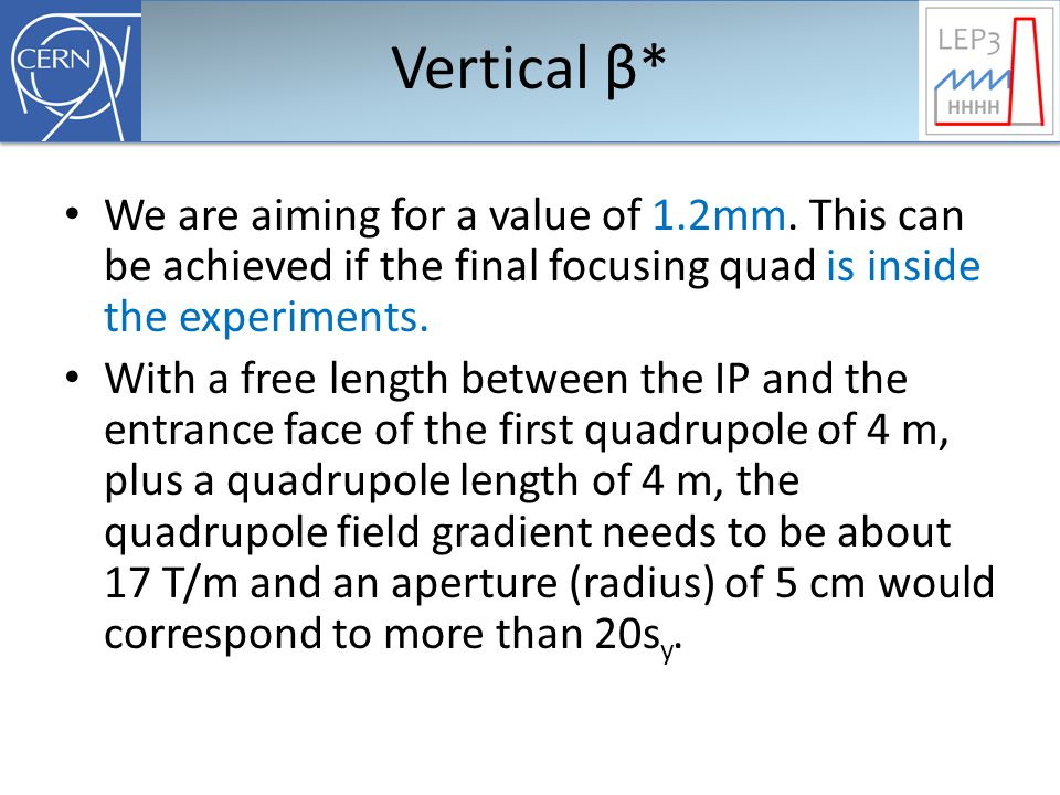 Vertical β* We are aiming for a value of 1.2mm.