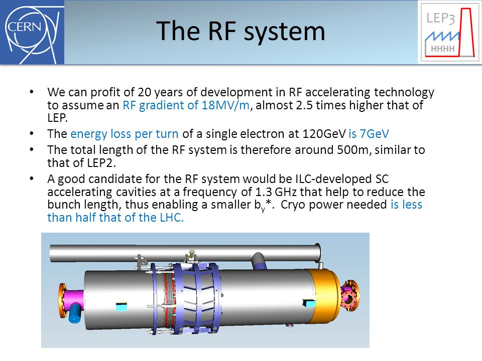 The RF system We can profit of 20 years of development in RF accelerating technology to assume an RF gradient of 18MV/m, almost 2.5 times higher that of LEP.
