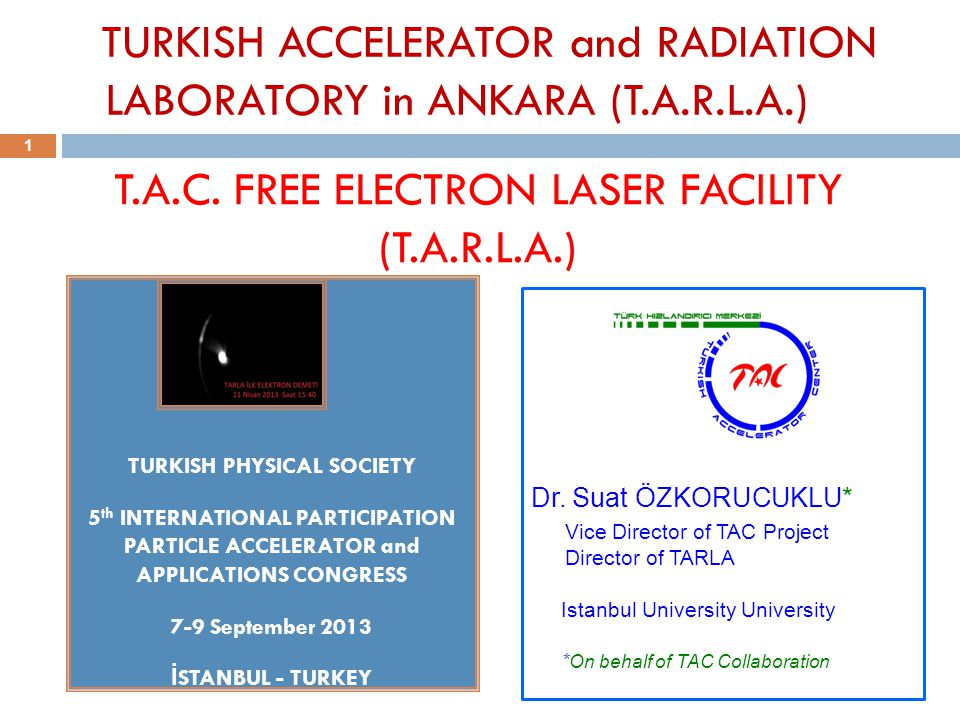 T.A.C. FREE ELECTRON LASER FACILITY (T.A.R.L.A.) TURKISH PHYSICAL SOCIETY 5 th INTERNATIONAL PARTICIPATION PARTICLE ACCELERATOR and APPLICATIONS CONGR