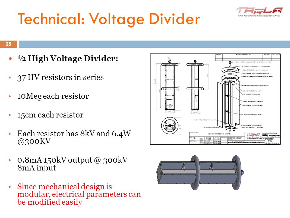 10-11 June 2012 ½ High Voltage Divider: 37 HV resistors in series 10Meg each resistor 15cm each resistor Each resistor has 8kV and 6.4W @300KV 0.8mA 1