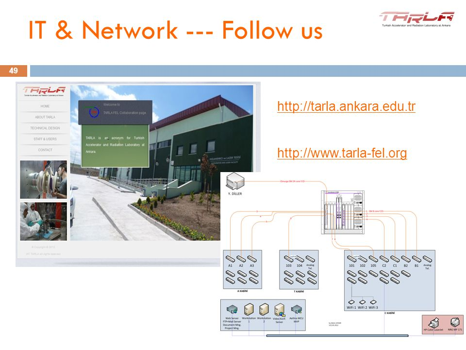 10-11 June 2012 IV. iSAC Meeting http://tarla.ankara.edu.tr http://www.tarla-fel.org 49 IT & Network --- Follow us