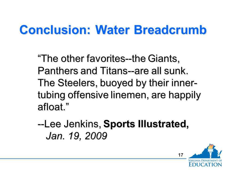 Conclusion: Water Breadcrumb The other favorites--the Giants, Panthers and Titans--are all sunk.
