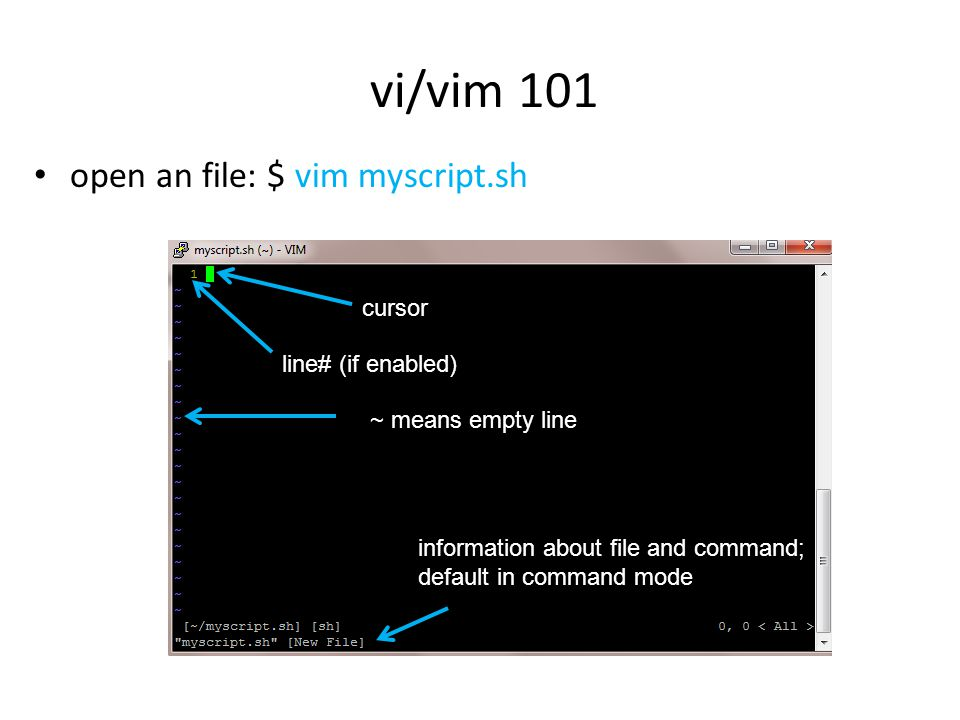 open an file: $ vim myscript.sh vi/vim 101 information about file and command; default in command mode cursor ~ means empty line line# (if enabled)