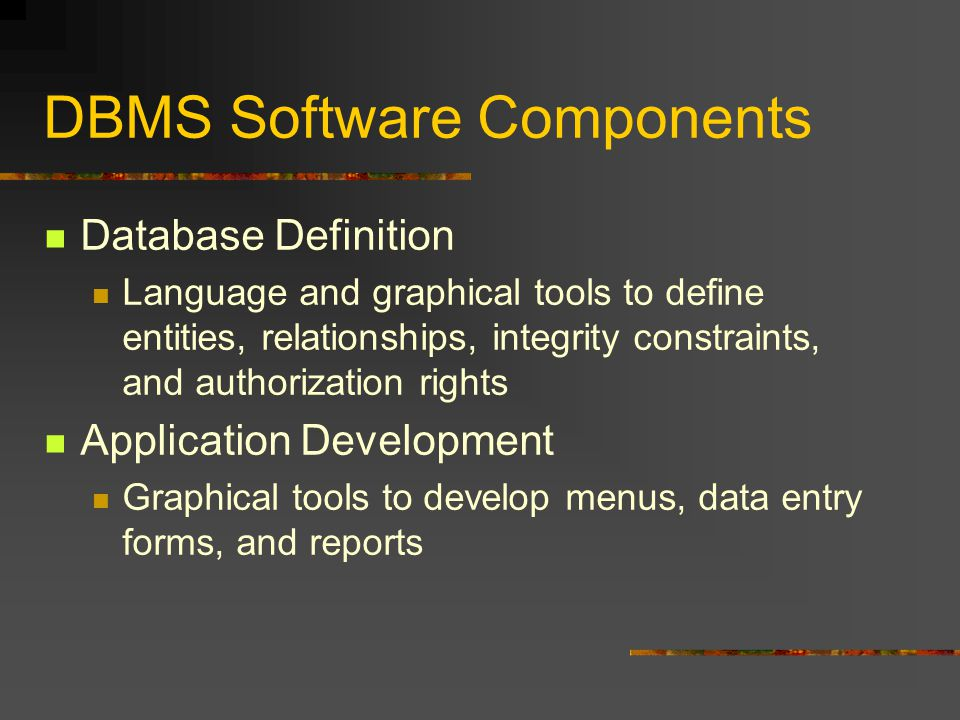 DBMS Software Components Database Definition Language and graphical tools to define entities, relationships, integrity constraints, and authorization rights Application Development Graphical tools to develop menus, data entry forms, and reports