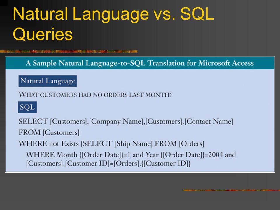 Natural Language vs. SQL Queries