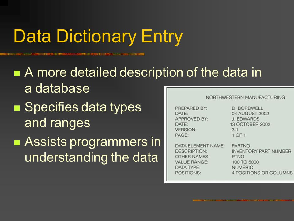 Data Dictionary Entry A more detailed description of the data in a database Specifies data types and ranges Assists programmers in understanding the data