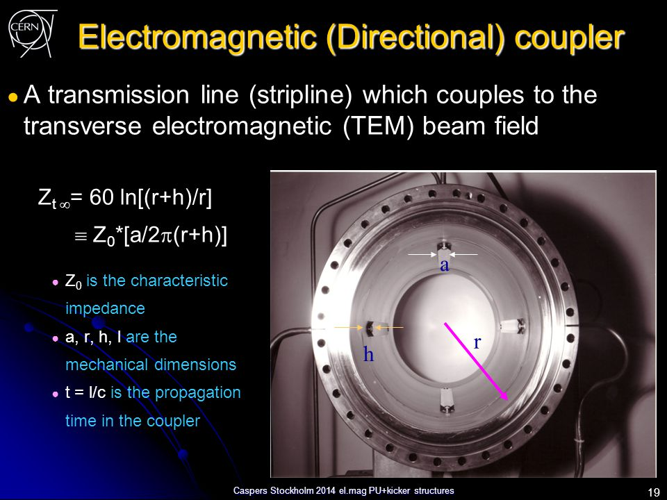 Caspers Stockholm 2014 el.mag PU+kicker structures Electromagnetic (Directional) coupler ● A transmission line (stripline) which couples to the transv