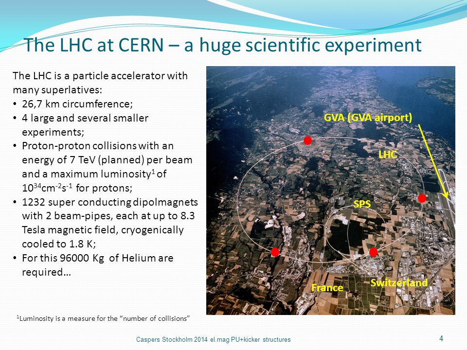 The LHC at CERN – a huge scientific experiment The LHC is a particle accelerator with many superlatives: 26,7 km circumference; 4 large and several sm