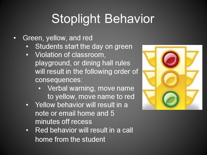 Stoplight Behavior Green, yellow, and red Students start the day on green Violation of classroom, playground, or dining hall rules will result in the following order of consequences: Verbal warning, move name to yellow, move name to red Yellow behavior will result in a note or email home and 5 minutes off recess Red behavior will result in a call home from the student