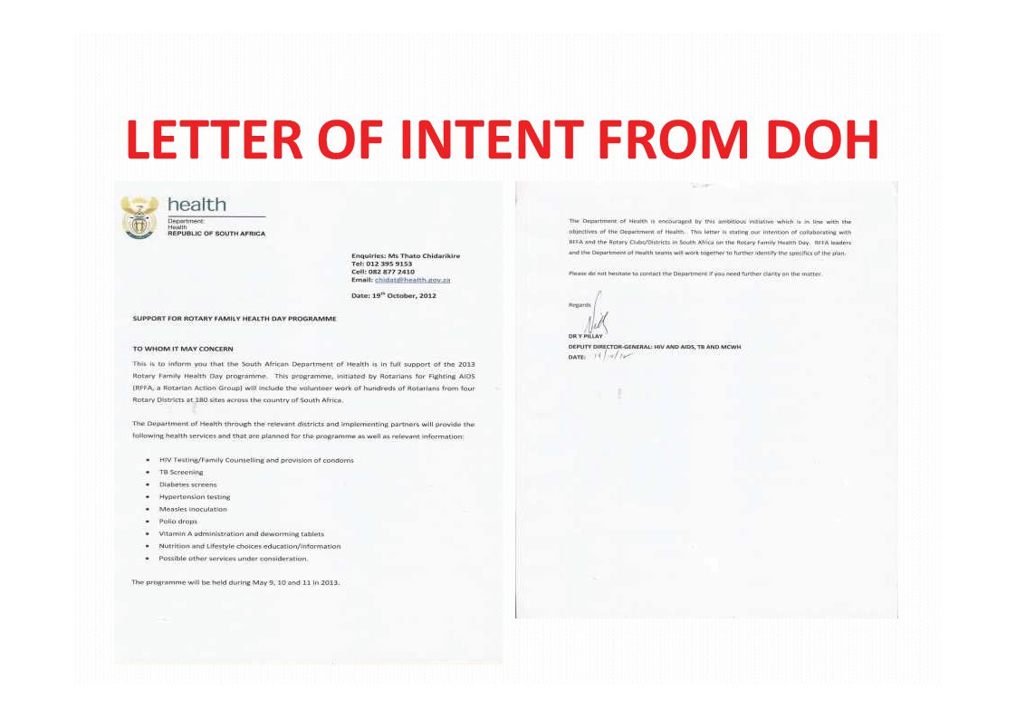 LETTER OF INTENT FROM DOH
