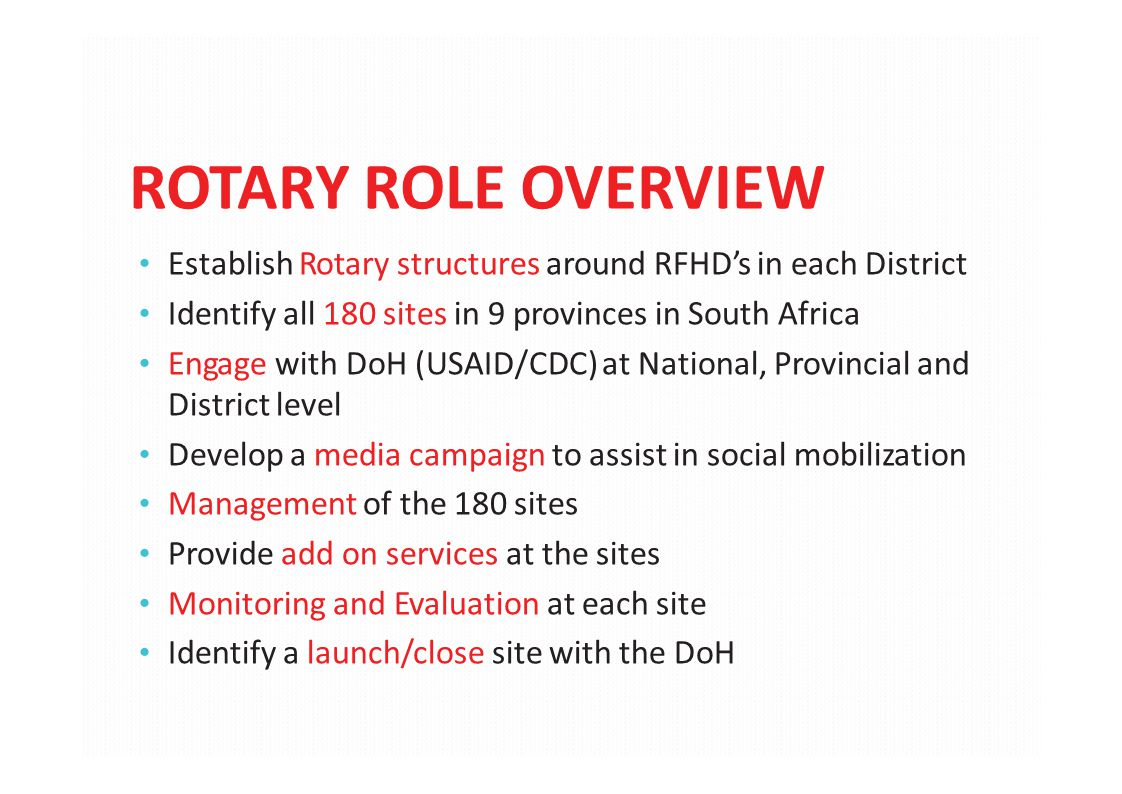 ROTARY ROLE OVERVIEW Establish Rotary structures around RFHD's in each District Identify all 180 sites in 9 provinces in South Africa Engage with DoH
