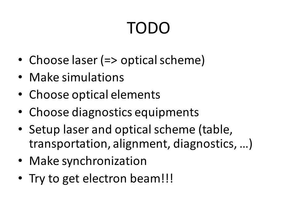 TODO Choose laser (=> optical scheme) Make simulations Choose optical elements Choose diagnostics equipments Setup laser and optical scheme (table, transportation, alignment, diagnostics, …) Make synchronization Try to get electron beam!!!