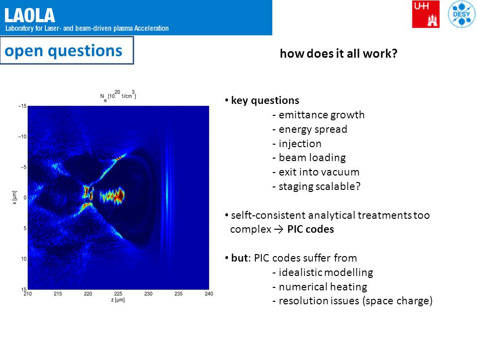 open questions how does it all work? key questions - emittance growth - energy spread - injection - beam loading - exit into vacuum - staging scalable