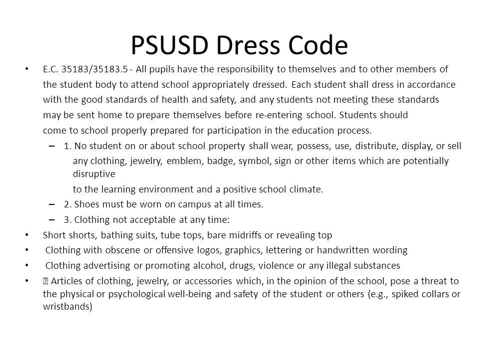 PSUSD Dress Code E.C.
