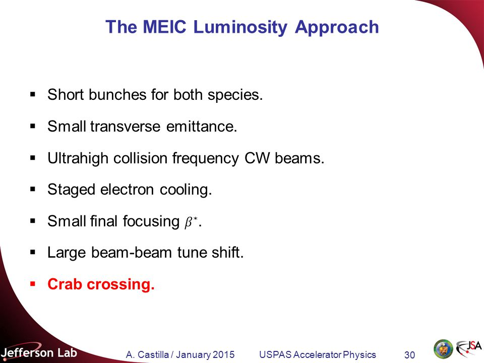 A. Castilla / January 2015 USPAS Accelerator Physics 30 The MEIC Luminosity Approach