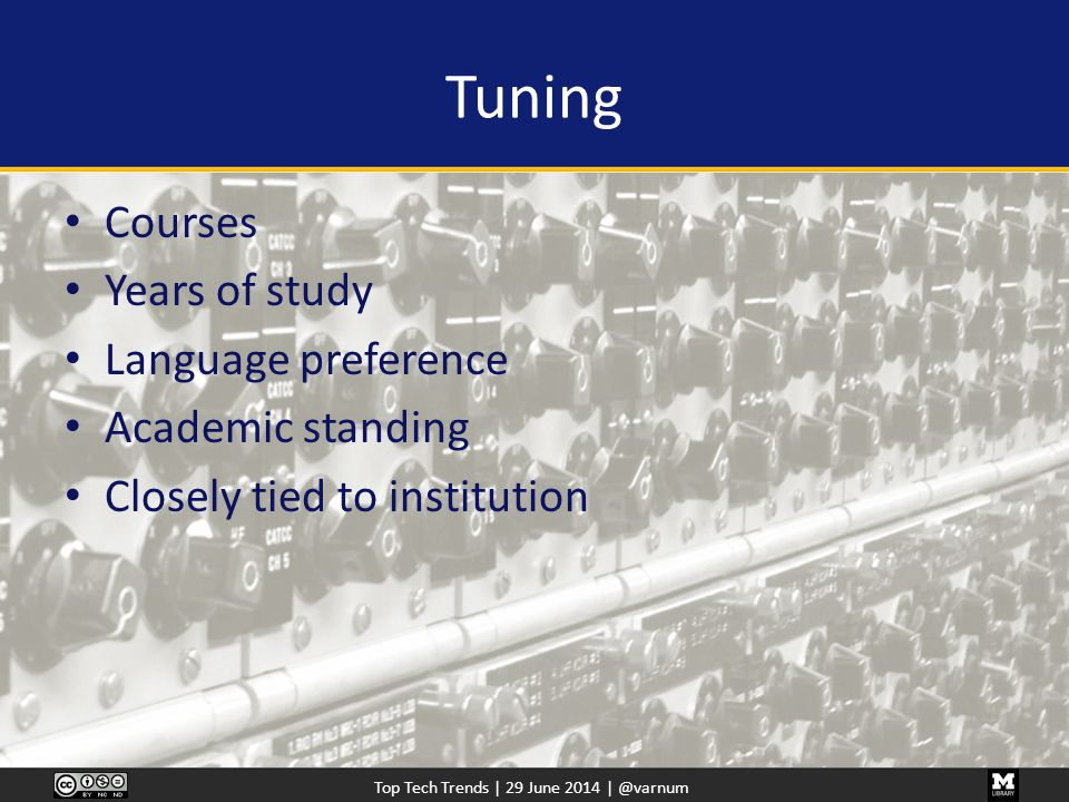 Top Tech Trends | 29 June 2014 | @varnum Tuning Courses Years of study Language preference Academic standing Closely tied to institution