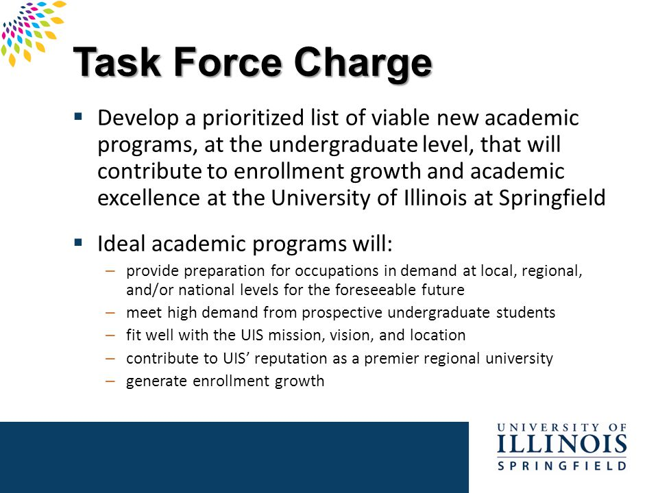 Task Force Process  Identified relevant factors & data needed  Organized suggested program list  Separated out program proposals not needing new resources  Reviewed relevant data  Considered program possibilities  Ranking of programs  No program ideas discarded