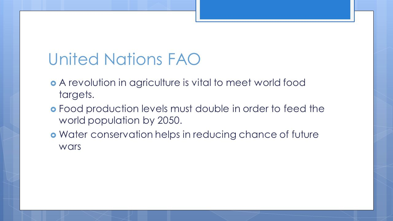 United Nations FAO  A revolution in agriculture is vital to meet world food targets.