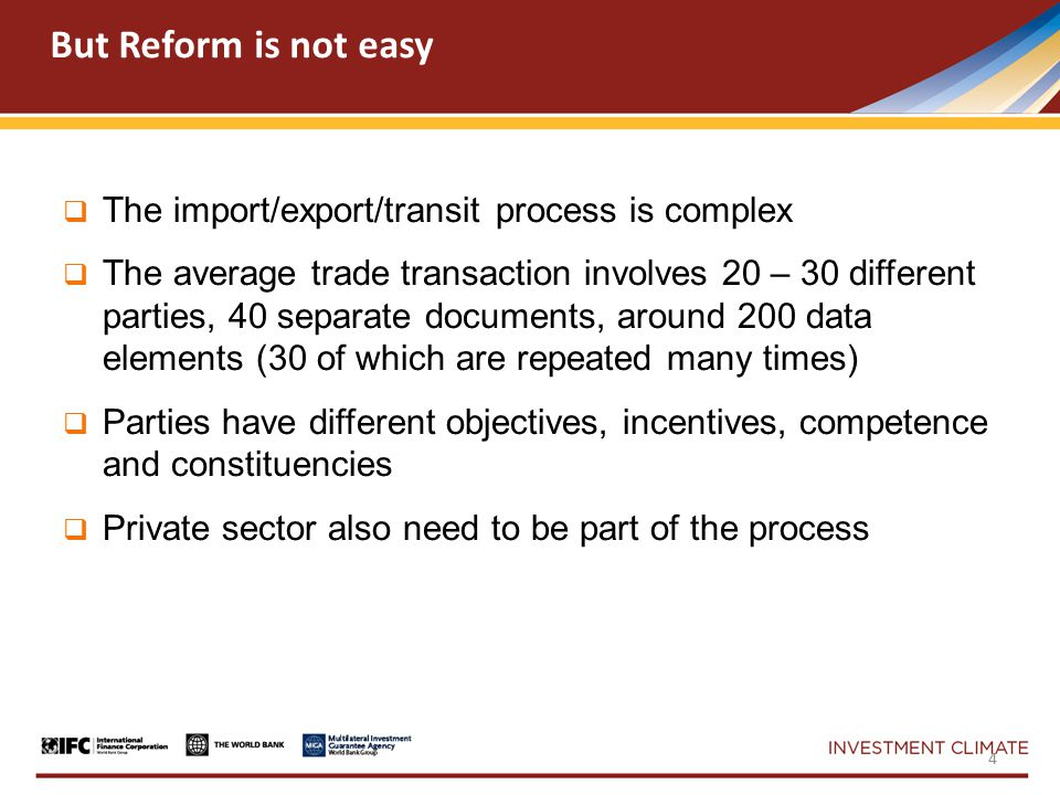  Strategy for customs modernization  Human resources and organizational issues  Legal Framework  Integrity in Border Agencies  Managing risk in the clearance process  Redesign of Border and Customs Processes  Simplification and Harmonization  ITC Support for e-Customs and RM - ASYCUDA A Few Trade Facilitation Components – Connectivity is Key