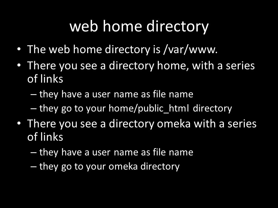 web home directory The web home directory is /var/www.
