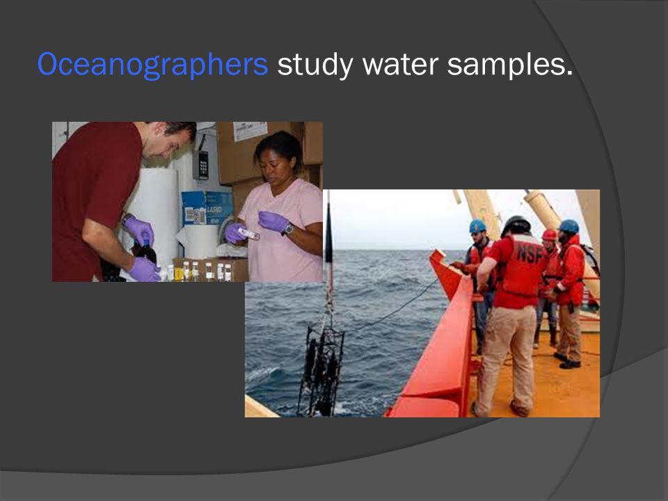 Oceanographers study water samples.