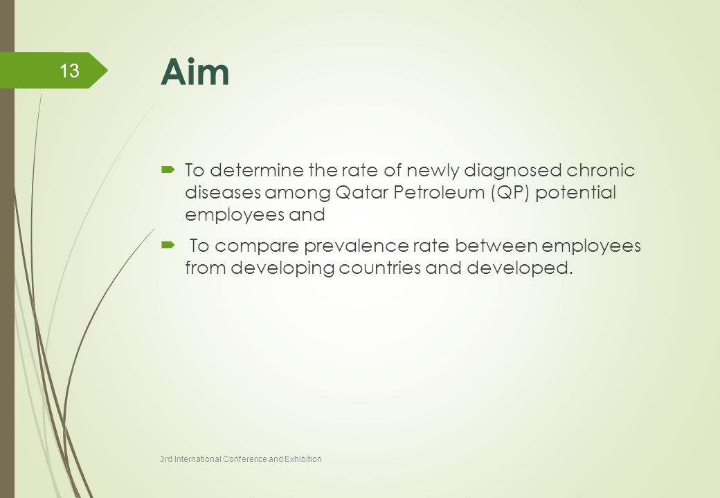 Aim  To determine the rate of newly diagnosed chronic diseases among Qatar Petroleum (QP) potential employees and  To compare prevalence rate betwee