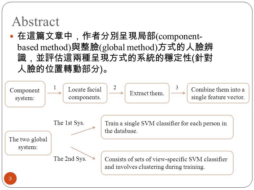 Abstract 3 在這篇文章中,作者分別呈現局部 (component- based method) 與整臉 (global method) 方式的人臉辨 識,並評估這兩種呈現方式的系統的穩定性 ( 針對 人臉的位置轉動部分 ) 。 Component system: Locate facial components.