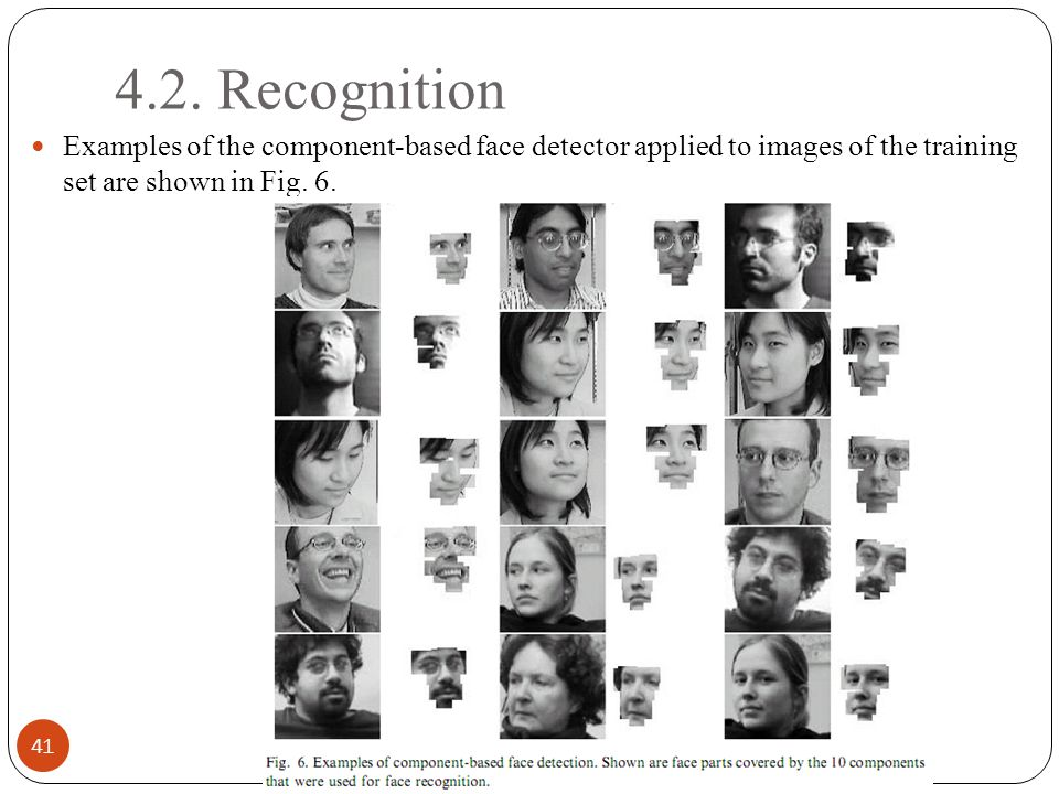 4.2. Recognition 41 Examples of the component-based face detector applied to images of the training set are shown in Fig. 6.