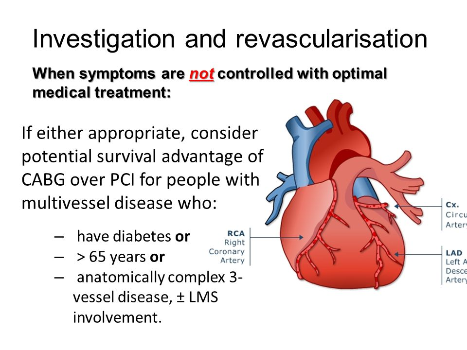 Investigation and revascularisation When symptoms are controlled with medical treatment: Consider CABG or PCI to see if revascularisation indicated