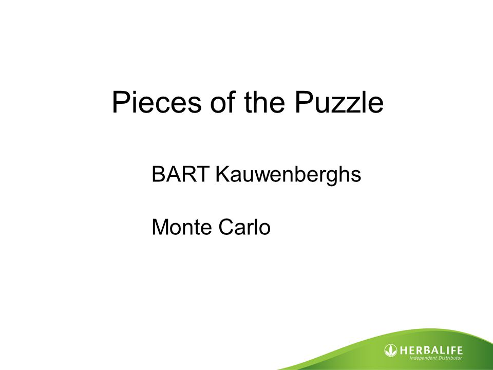 Pieces of the Puzzle BART Kauwenberghs Monte Carlo