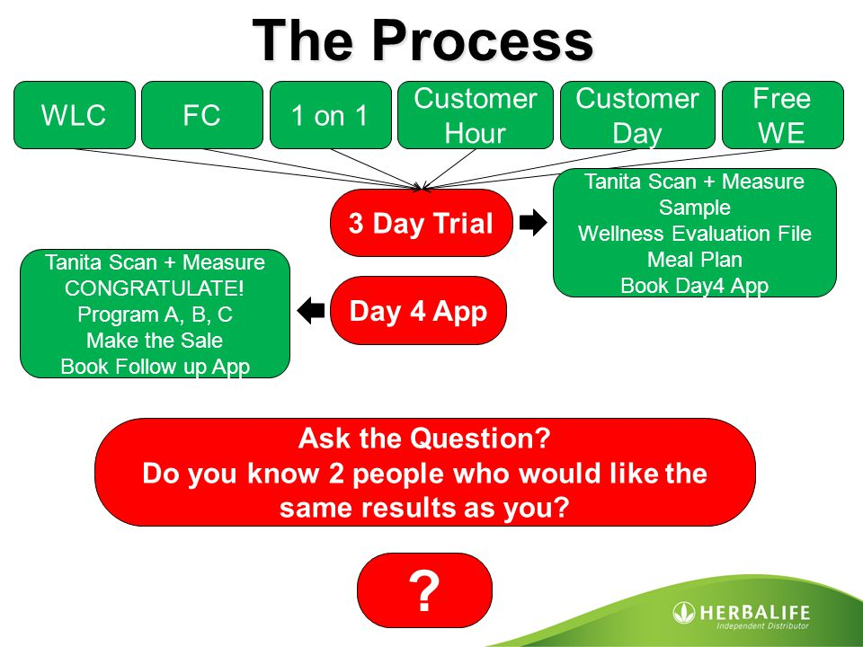 The Process WLCFC1 on 1 Customer Hour Customer Day Free WE 3 Day Trial Tanita Scan + Measure Sample Wellness Evaluation File Meal Plan Book Day4 App D