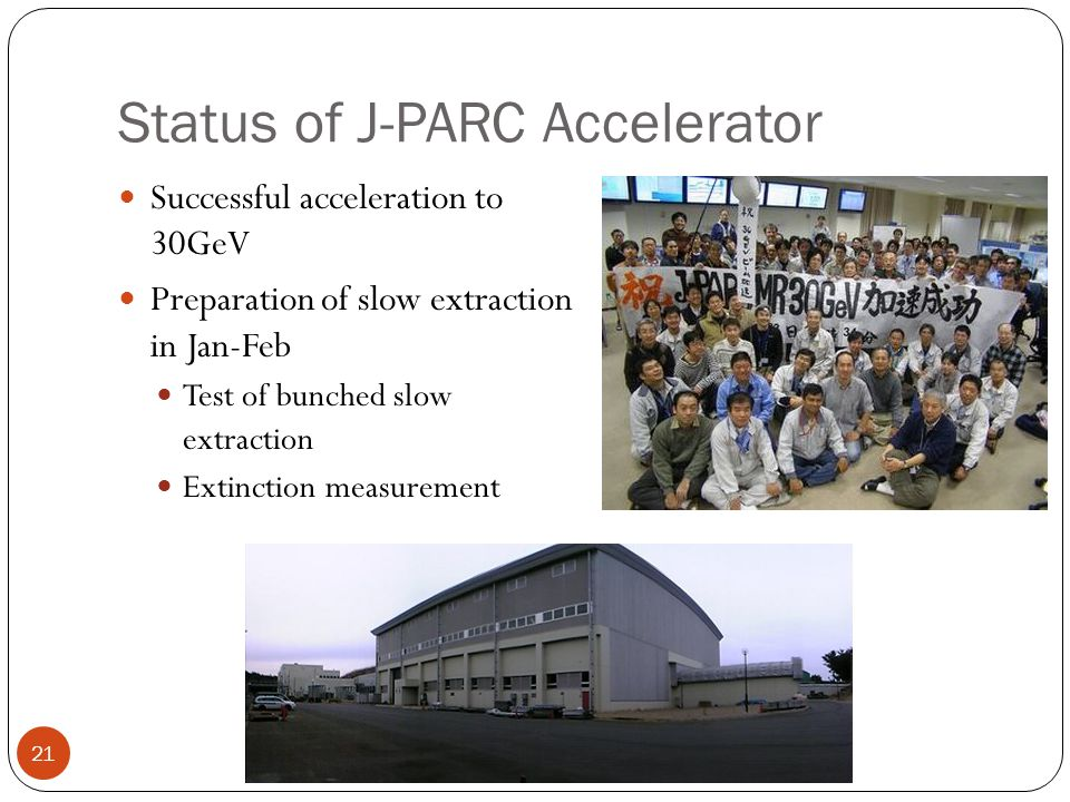 Status of J-PARC Accelerator 21 Successful acceleration to 30GeV Preparation of slow extraction in Jan-Feb Test of bunched slow extraction Extinction measurement