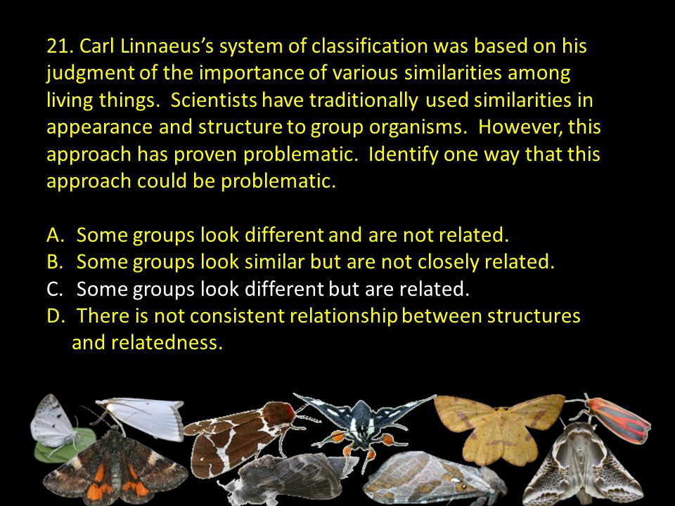 21. Carl Linnaeus's system of classification was based on his judgment of the importance of various similarities among living things. Scientists have