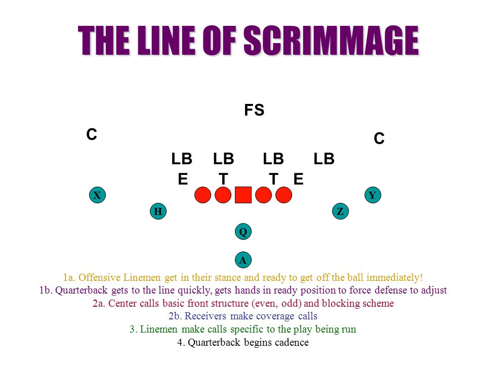 HZ XY TTEE LB C C FS THE LINE OF SCRIMMAGE 1a. Offensive Linemen get in their stance and ready to get off the ball immediately! 1b. Quarterback gets t