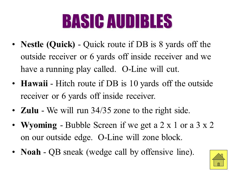 Nestle (Quick) - Quick route if DB is 8 yards off the outside receiver or 6 yards off inside receiver and we have a running play called. O-Line will c