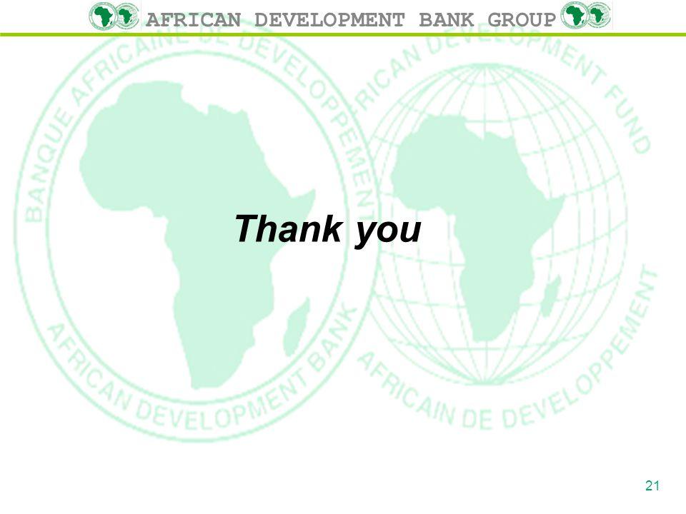 AFRICAN DEVELOPMENT BANK GROUP Thank you 21