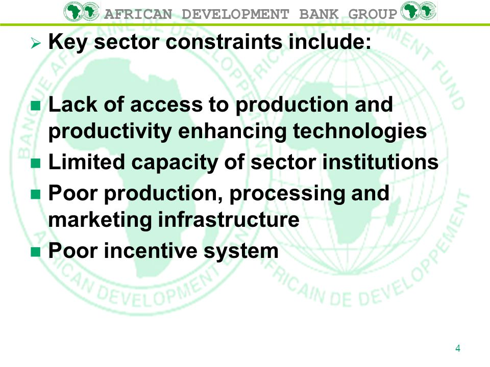AFRICAN DEVELOPMENT BANK GROUP  Key sector constraints include: n Lack of access to production and productivity enhancing technologies n Limited capacity of sector institutions n Poor production, processing and marketing infrastructure n Poor incentive system 4